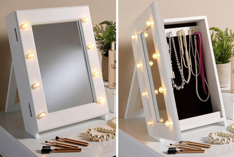 Image of £24.99 instead of £69 for a light-up mirrored jewellery box from Furniture Dealz - save 64%