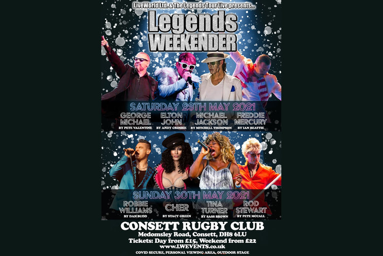 Image of £9 instead of £25 for a weekend ticket to Legends Weekender from Live World - catch bombastic tribute acts for some of your favourite performers and save 64%