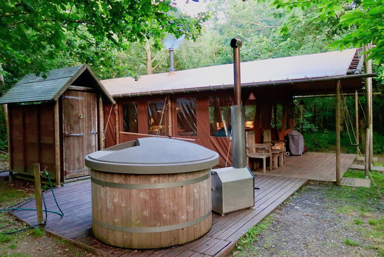 Image of A Malvern, South Herefordshire self-catered hot tub glamping stay at Feather Down Hollings Hill for up to six people. £335 for a two-night weekend stay - save up to 30%