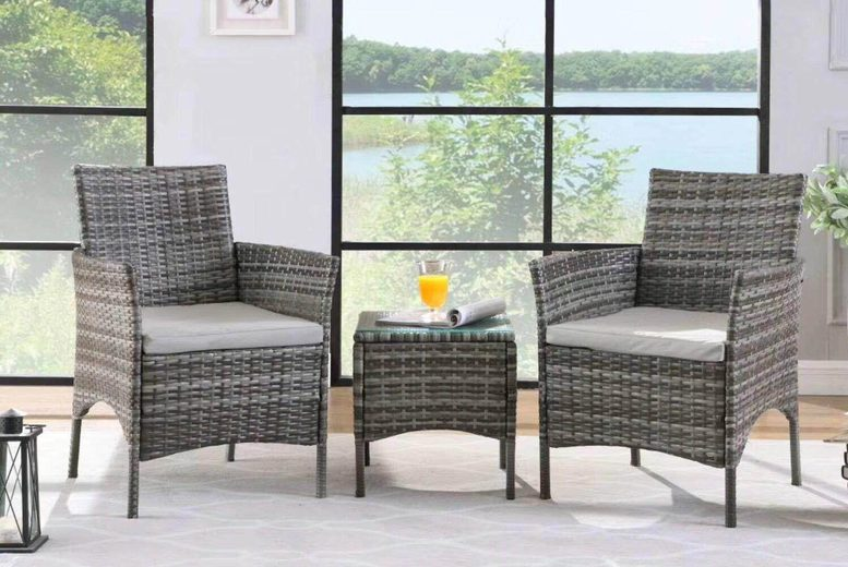 Image of £135 instead of £219.99 for a three-piece durable polyrattan garden furniture set from Buyer Empire - save 39%