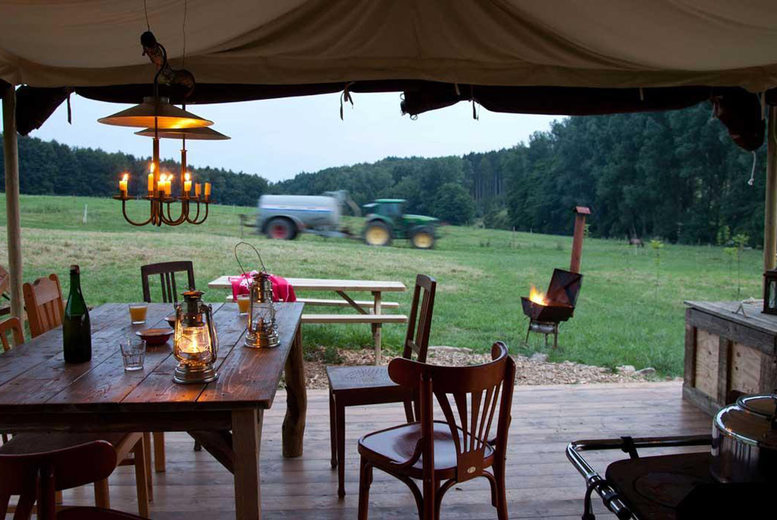 Image of A Langport, Somerset self-catered glamping stay at Feather Down Glastonbury Hill Farm for up to six people. £335 for a two-night weekend stay - save up to 30%