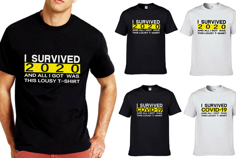 Image of £9.9 for an 'I Survived 2020' unisex t-shirt in sizes S-2XL from J&Y Distribution!