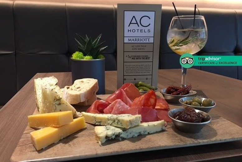 Image of £25 instead of up to £66 for six gin drinks with mixers plus a sharing platter for two people at 4* AC Hotel Marriott Salford Quays - save up to 62%