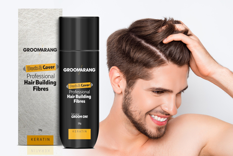Image of £11.99 instead of £29.99 for a 28g bottle of Duck & Cover professional keratin hair building fibres in black, light brown or medium blonde from Groomarang - save 60%