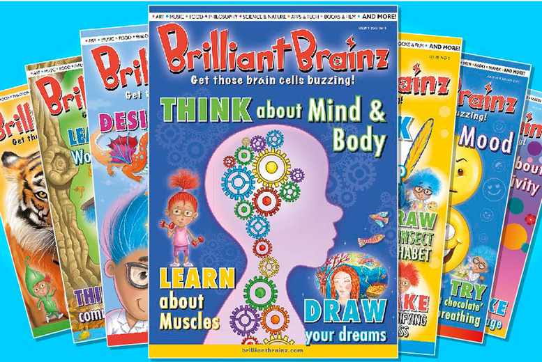 Image of £3 for 50% off three back issues and a three-month subscription to Brilliant Brainz - a creative, colourful, inspiring and educational magazine series for 6 to 12-year olds!