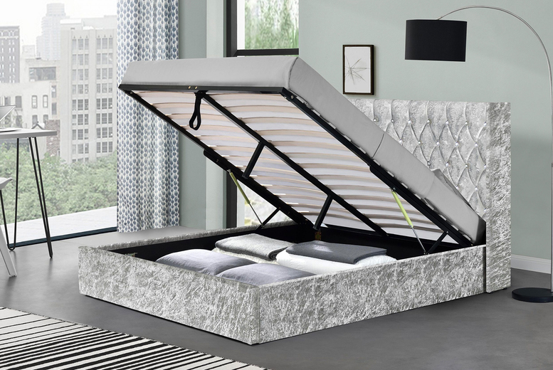 Image of From £249 instead of £449 for a silver crushed velvet wingback ottoman bed or from £399 for an ottoman bed and mattress in double or king from Modish Furnishing - save up to 45%