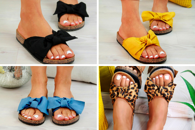 Image of £11.98 instead of £29.99 for a pair of women's flat sandals with bow knot detail in Yellow, Leopard, Red, Black or Blue in UK sizes 4-8 from My Brand Logic – save 60%