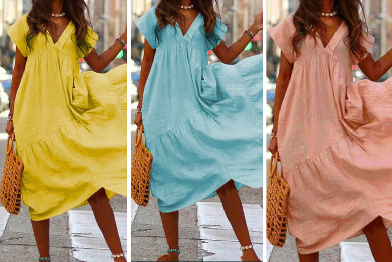 Image of £11.98 instead of £49.99 for a women's summer dress in pink, yellow, light blue or dark blue from MBLogic - save 76%