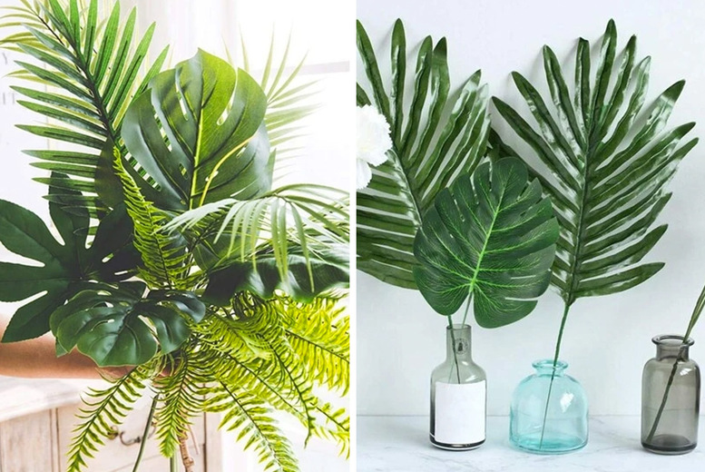 Image of £11.99 instead of £59.99 for a 60-piece set of artificial palm tree leaves from Magic Trend - save 80%