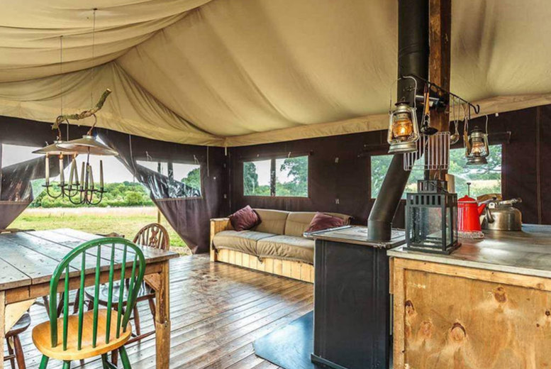 Image of A Seahouses, Northumberland self-catered glamping stay at Feather Down Northumberland Farm for up to six people. £335 for a two-night weekend stay - save up to 30%