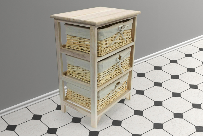 Image of £32.99 instead of £59.99 for a three-tier wicker basket wooden storage unit from Eurotrade - save 45%