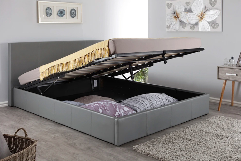 Image of From £129 instead of £227.99 for a PU leather ottoman bed in black, grey or white and in single, double or king sizes from Accessory Box - save up to 43%