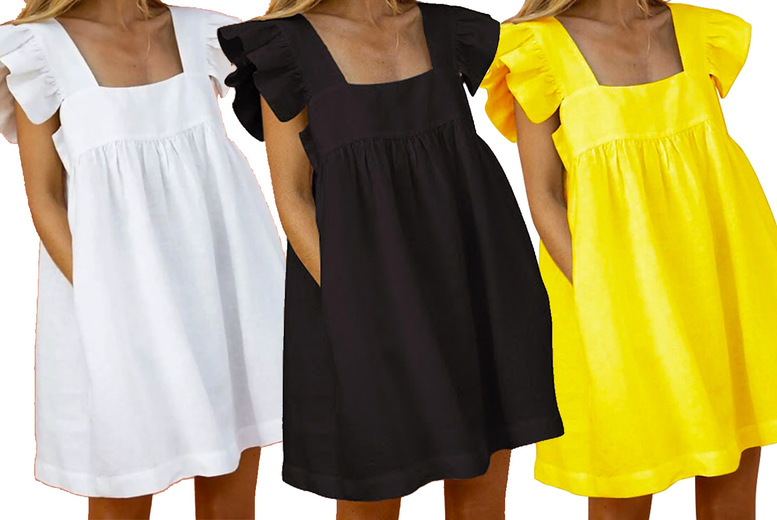 Image of £12.98 instead of £34.99 for a women's square neck ruffle sleeve dress in white, yellow, black or pink floral and in UK sizes 10-16 from Huundo-P - save 63%