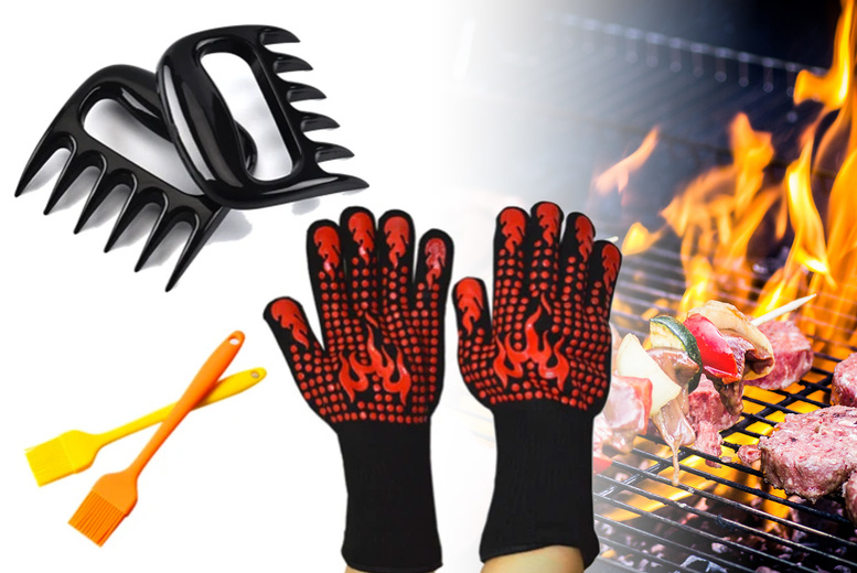 Image of £11.99 for a pair of heat resistant gloves, two basting brushes and two meat shredding claws from Magic Trend!