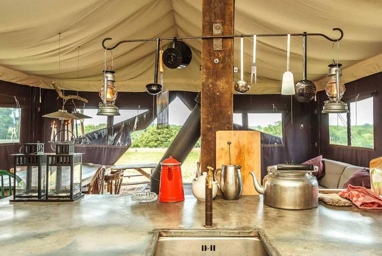Image of A Heydon, Norfolk self-catered glamping stay at Feather Down Heydon Grove Farm for up to six people. £335 for a two-night weekend stay - save up to 30%