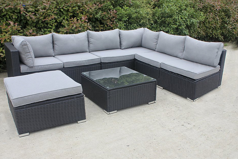 Image of £1299.99 for a seven-seater polyrattan garden furniture set from Blakesleys
