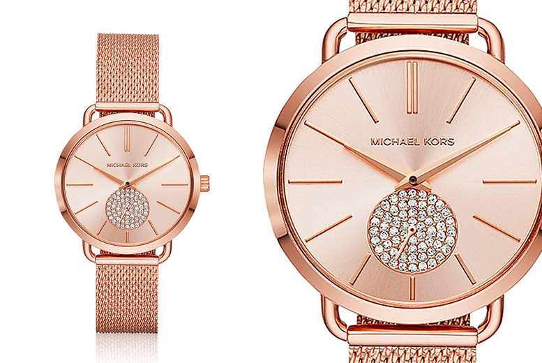 Image of £109 instead of £229 for a ladies Michael Kors MK3845 Portia rose gold watch with dazzling pave detail from CJ Watches - save 52%