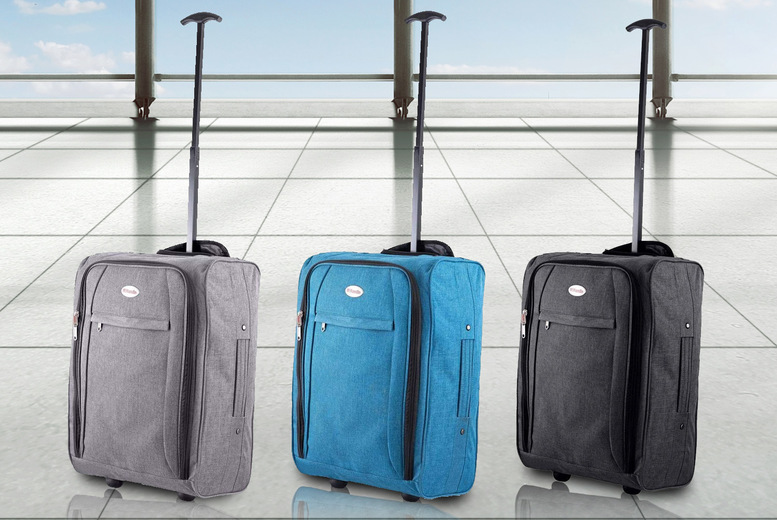 Image of £7.99 instead of £35 for a black hand luggage bag with wheels, £9.99 for grey or £9.99 for petrol blue from Direct121 - save up to 77%