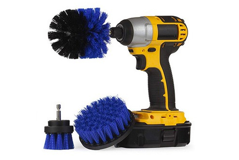 Image of £12.99 instead of £19.99 for a four piece drill brush cleaning attachment set in red, green, blue or yellow from Bear Called Bob - save 35%