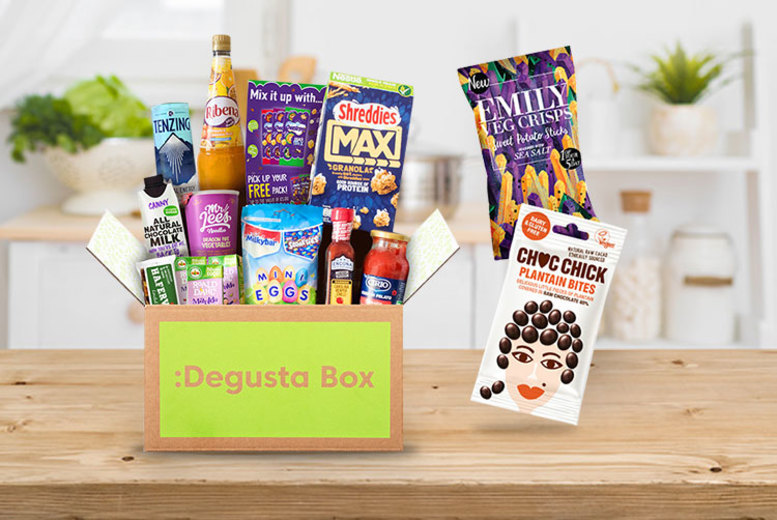 Image of £7.99 instead of up to £12.99 for a one-month food hamper subscription from Degustabox - try something new and save up to 38% + DELIVERY INCLUDED