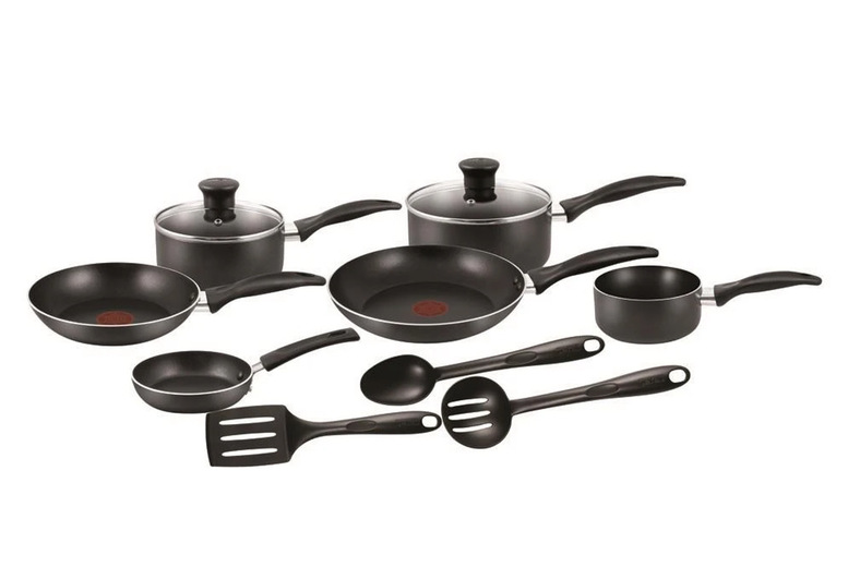 Image of £49.99 instead of £79.99 for a Tefal A762S944 nine-piece black cookware set! - 38%
