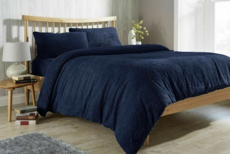 Image of From £15.99 for a Luxurious Teddy Fleece Duvet Set from Direct Warehouse Ltd - save up to 60%