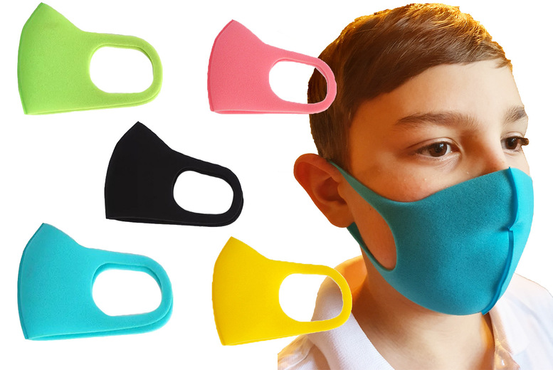 Image of £1.99 for a pack of three reusable children's face coverings, £2.99 for a pack of five from Online Trendz!