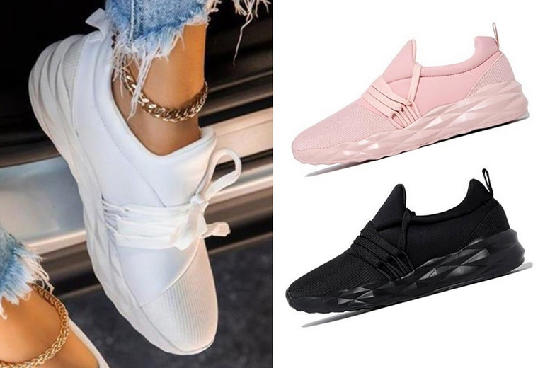 Image of £19.99 instead of £29.99 for a pair of women's geometric sole trainers in white, black, pink or army green from Bear Called Bob - save 33%