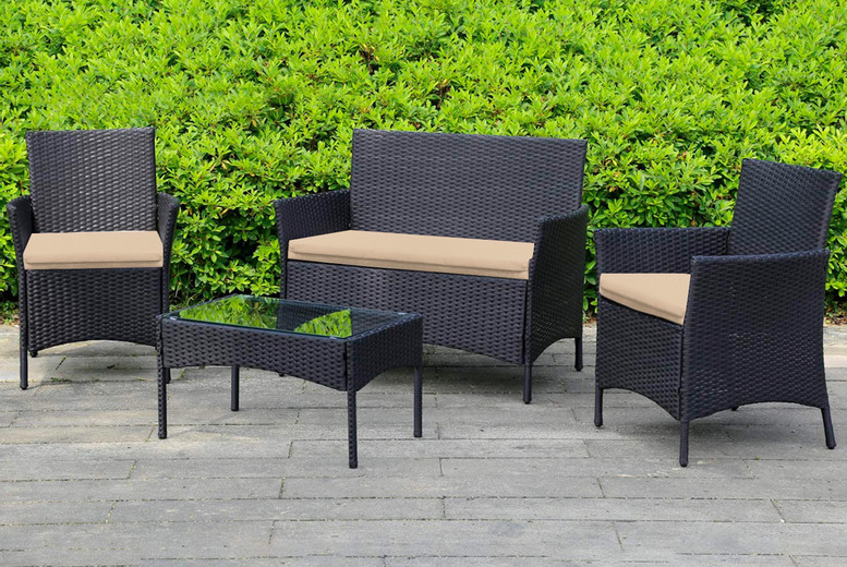 Image of £44.99 instead of £109.99 for a three-piece replacement rattan cushion set in black, beige, green, navy or grey from Essentials2publik!