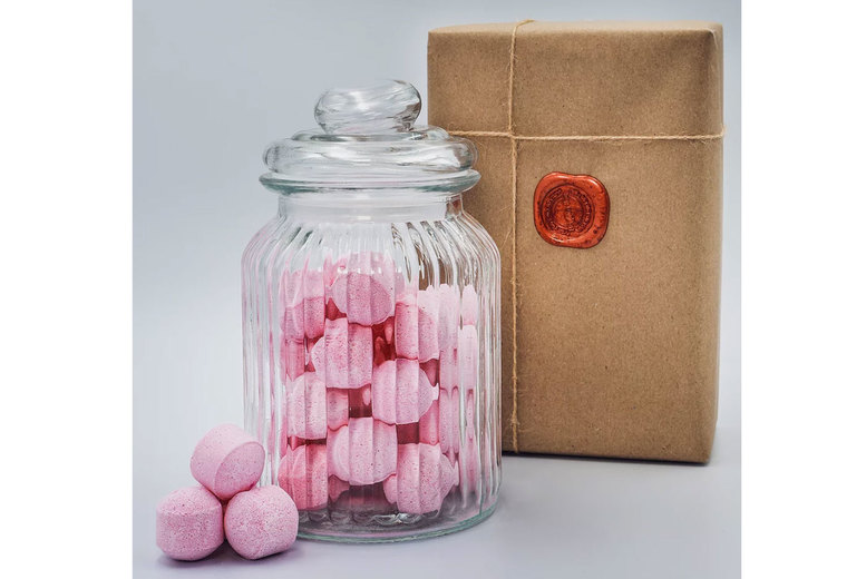 """Image of £12 instead of £19.99 for a glass jar filled with mini rose-scented """"chill pill"""" bath bombs from Brighton Soap - save 40%"""