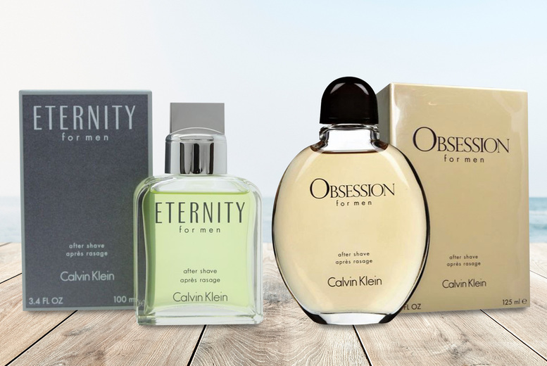 Image of £15.50 instead of £23.99 for a 100ml bottle of Calvin Klein Eternity aftershave, £16.99 for a 125ml bottle of Calvin Klein Obsession - save up to 35%
