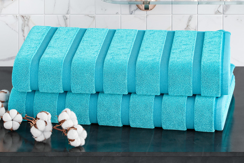 Image of £14.99 for two jumbo bath sheets in aqua, beige, black, charcoal, duck egg, forest green, grey, mustard, navy, pink, silver, teal, white or yellow from Bliss Home Living!