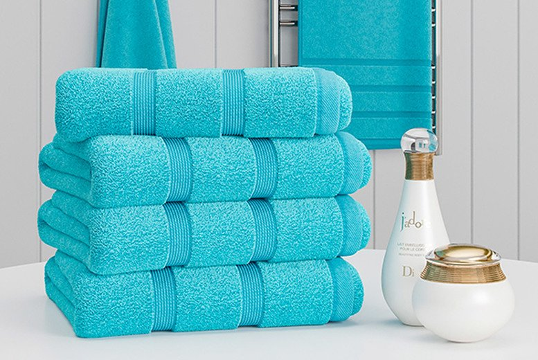 Image of £11.99 instead of £39.99 for a six-pack hand towel set in aqua, beige, black, charcoal, duck egg blue, forest green, grey, mustard, navy, pink, silver, teal, white or yellow from Bliss Home Living - save 70%