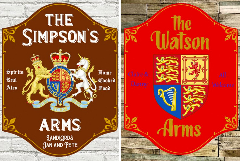 Image of £12 for a medium personalised pub sign or £15 for a large personalised pub sign from Colour House!