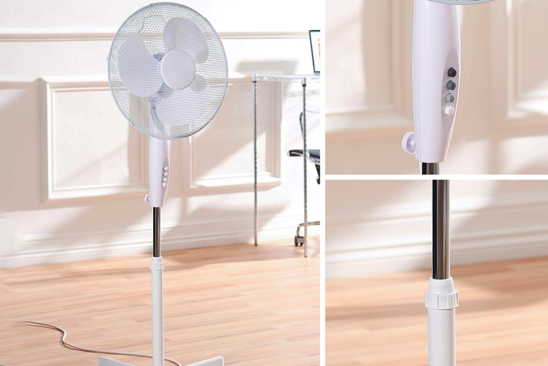 Image of £19.99 instead of £49.99 for one 16-inch white oscillating pedestal fan, £37.99 for two from Global Gift House - save up to 60%