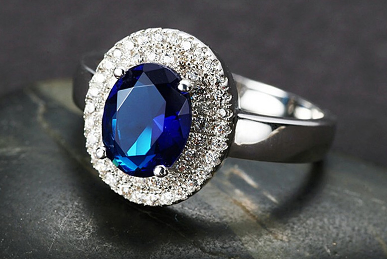 Image of £10.99 instead of £59.99 for a blue cubic zirconia ring in sizes K, M, P or R from Gemnations - save 82%
