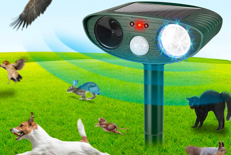 Image of £11.99 instead of £39.99 for a solar-powered ultrasonic animal pet repeller from CN Direct Biz – save 70%