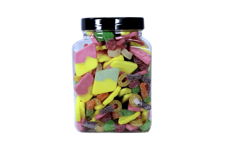 Image of £13 for a 1.5kg vegetarian sweets jar from Posted Sweets - enjoy a vegetarian-friendly pick 'n' mix variety of sweets including sour dummies, strawberry cheesecake and more!