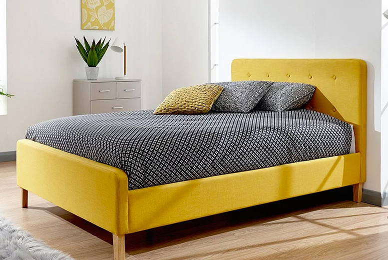 Image of From £175 instead of £334.99 for a retro inspired bed frame in double or king sizes or from £315 for a bed frame and a memory foam mattress in grey, light grey or mustard from FTA Furnishing - save up to 48%