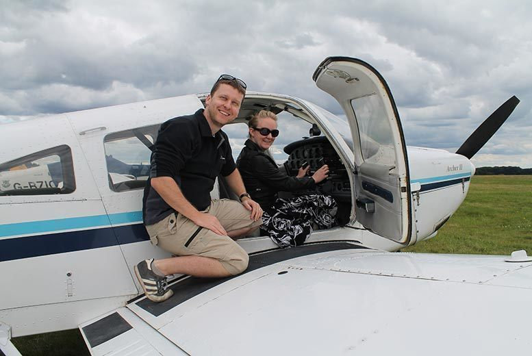 Image of £139 instead of £249 for a two-hour land away double aeroplane flying lesson for one person at Adventure 001 - choose from 12 locations and save 44%