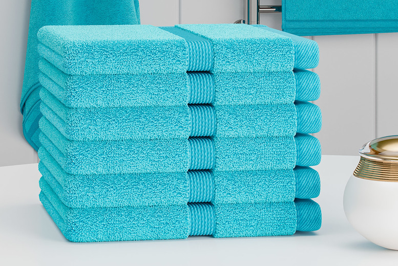 Image of £12.99 instead of £39.99 for a pack of 24 Egyptian cotton face towels in aqua, beige, black, charcoal, duck egg, forest green, grey, mustard, navy, pink, silver, teal, white or yellow from Bliss Home Living - save 68%