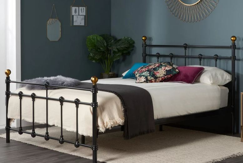 Image of From £135 for a Gorgeous Black Antique Metal Bed Frame - 3 Sizes! from FTA Furnishing - save up to 66%