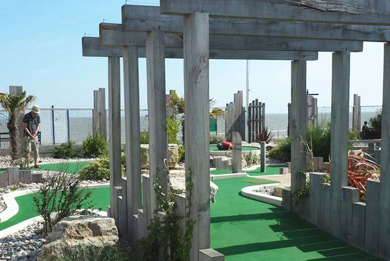 Image of £4.50 instead of £9 for a nine-hole adventure golf game for two adults at Greensward Cafe, Clacton-On-Sea, or £8 for a family of two adults and two children - save up to 50%