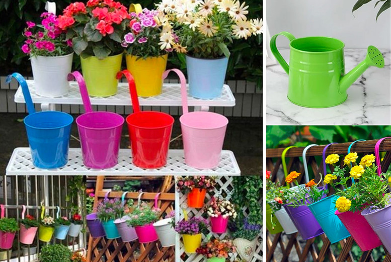 Image of £14.99 for a set of 10 hanging garden flower pots, £22 with a watering can from CN Direct!
