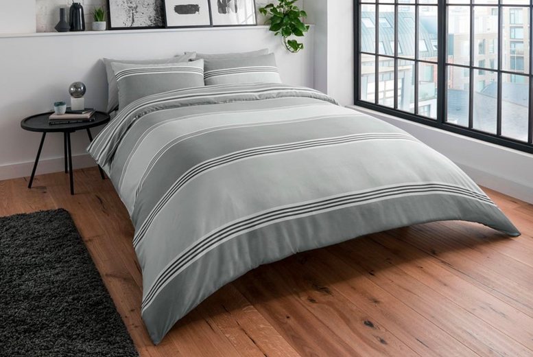 Image of From £11.99 for a Sleepdown grey banded stripe duvet cover set in Single, Double, King or Super King size from Five Minutes More!