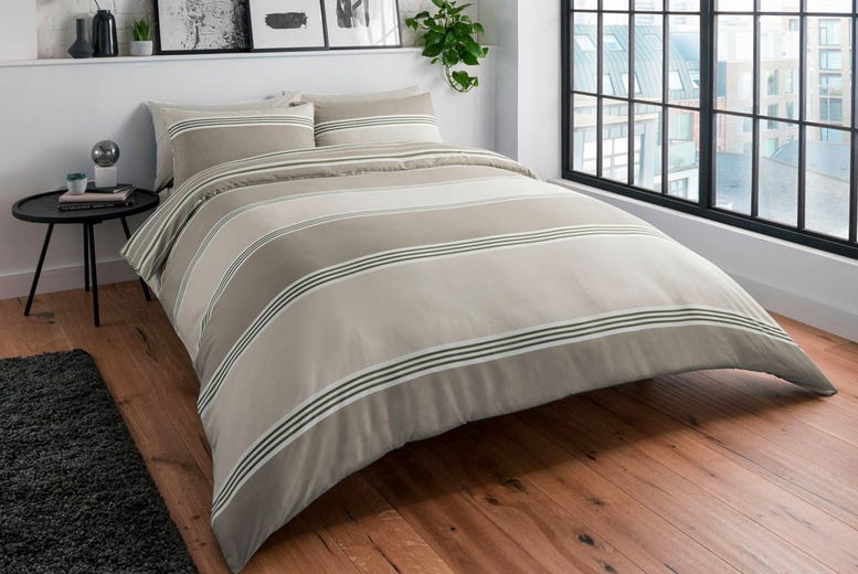 Image of From £11.99 for a Sleepdown banded stripe bedding from Five Minutes More - save up to 70%