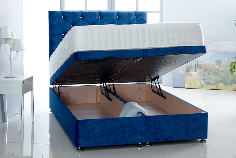 Image of From £299 instead of £820 for a velvet fabric ottoman bed in single, small double, double, king or super king from Comfy Deluxe - save up to 64%
