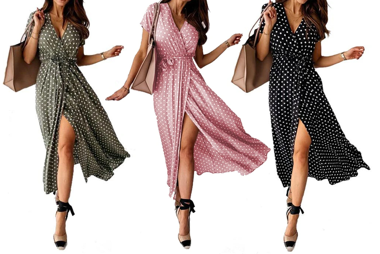 Image of £11.98 instead of £45 for a women's high split polka dot maxi dress in Khaki, Black or Pink in UK sizes 8-18 from Boni Caro - save 73%