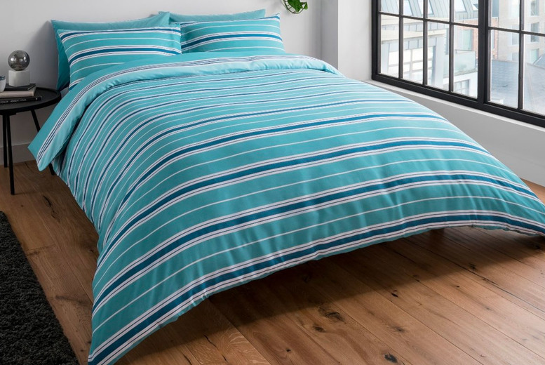 Image of From £11.99 instead of £40 for a banded stripe teal bedding set from Five Minutes More - choose your size and save up to 70%