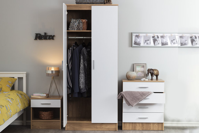 Image of £159 instead of £249.99 for a three-piece bedroom furniture set from Accessory Box - save 36%